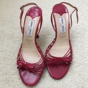 Jimmy Choo Strappy Red Bow Heels, 39.5